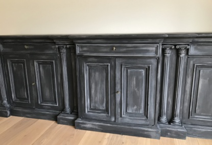 hand painted using a chalk paint with an antique effect