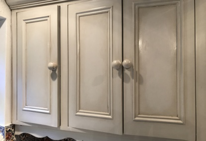 hand painted units with an antique paint effect