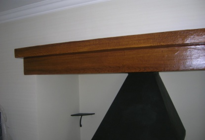 oak woodgrain effect on a metal beam